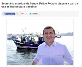 Secretário estadual de Saúde, Felipe Peixoto dispensa carro e usa as barcas para trabalhar